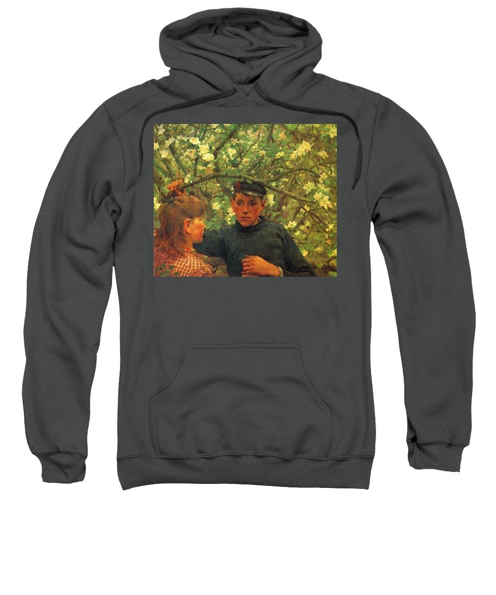 Tree Sweatshirt featuring the digital art The Promise Walker Henry Scott Tuke by Eloisa Mannion