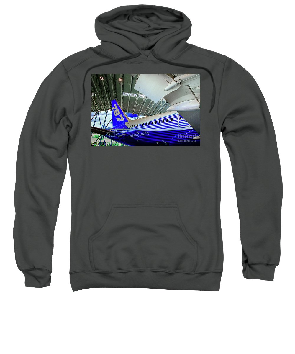 Boeing 787 Exterior Sweatshirt featuring the photograph 787 Tail Section by Rick Bragan
