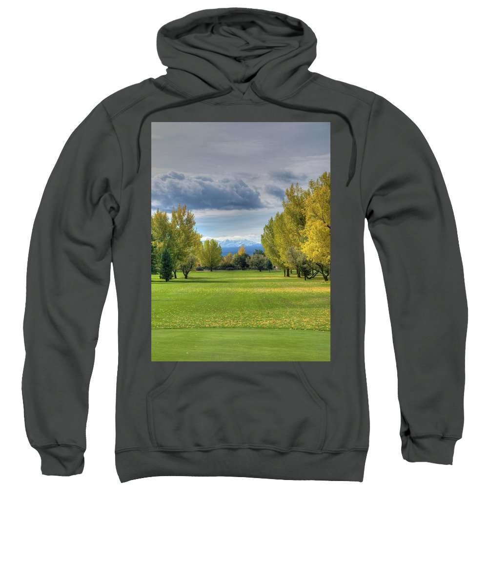 Golf Course Sweatshirt featuring the photograph 7th Fairway by Linda Weyers