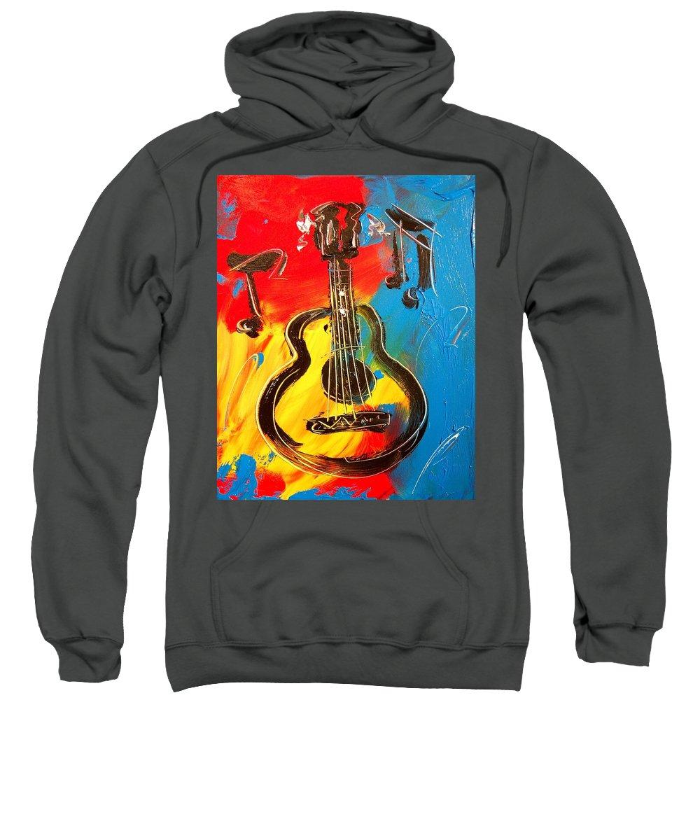 Landscape Framed Prints Sweatshirt featuring the painting Guitar by Mark Kazav