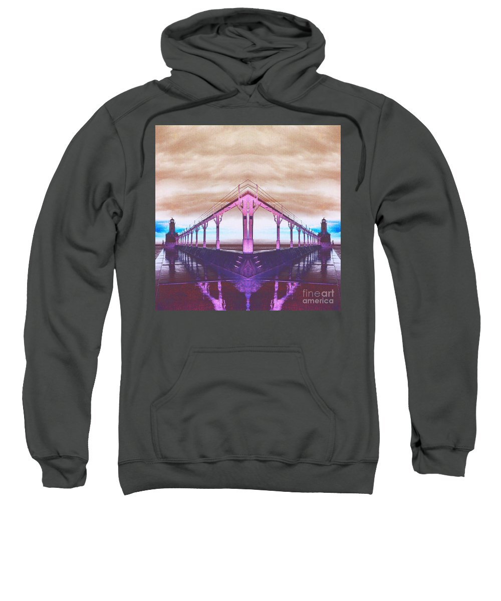 Michigan Sweatshirt featuring the photograph Lighthouse Reflections by Scott D Van Osdol