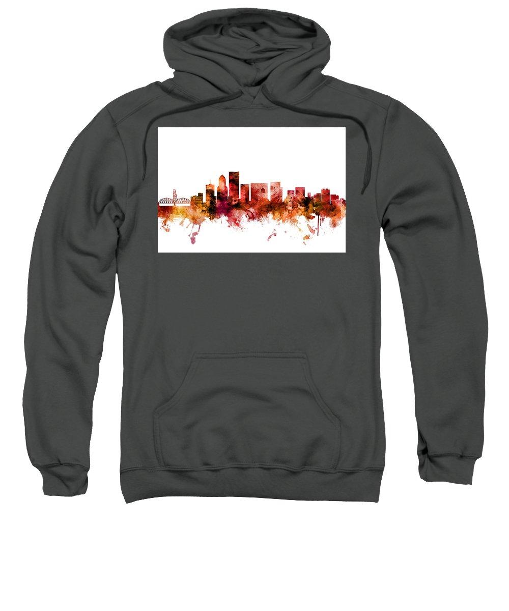 Portland Sweatshirt featuring the digital art Portland Oregon Skyline by Michael Tompsett
