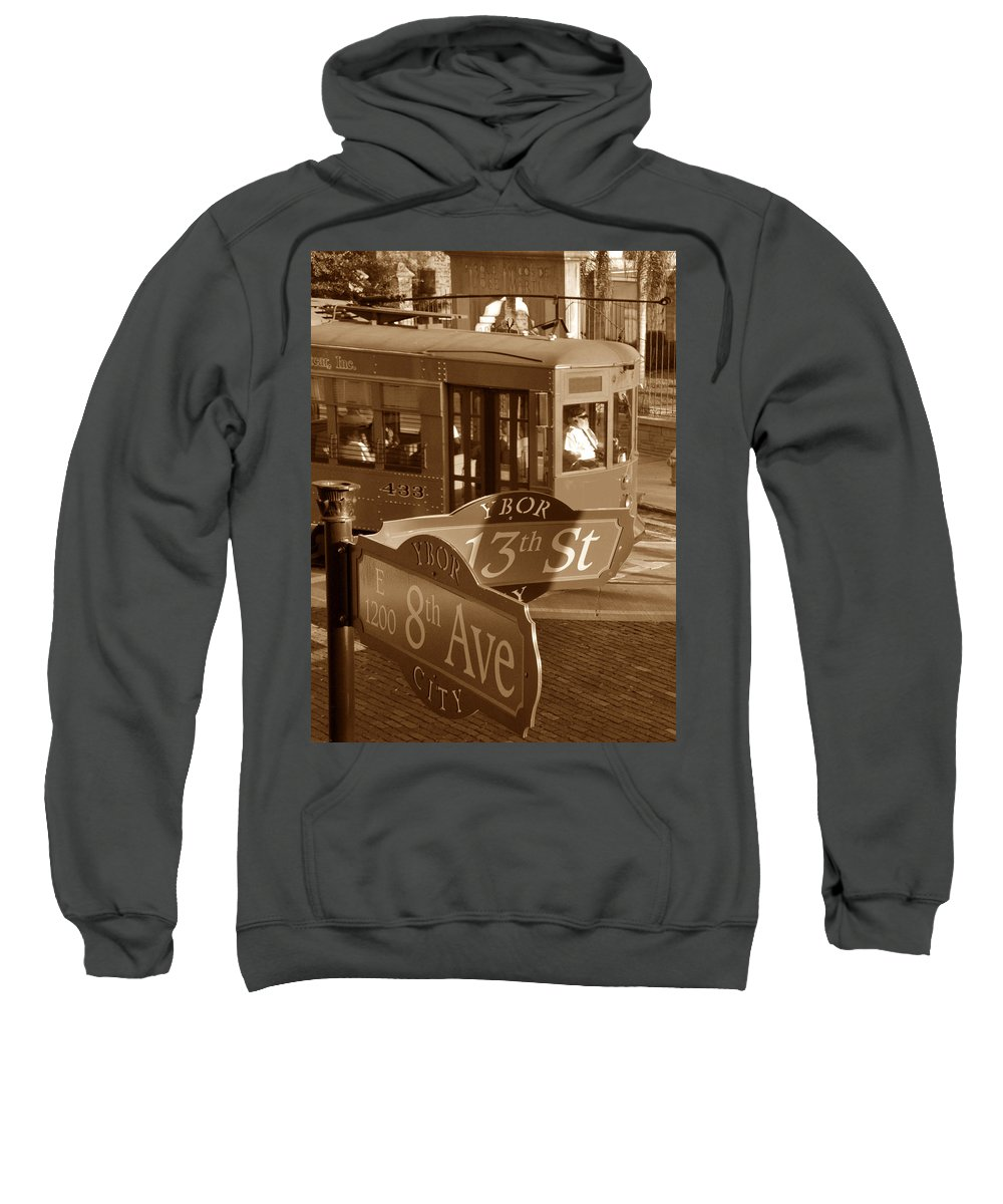 Fine Art Photography Sweatshirt featuring the photograph 8th Ave Trolley by David Lee Thompson