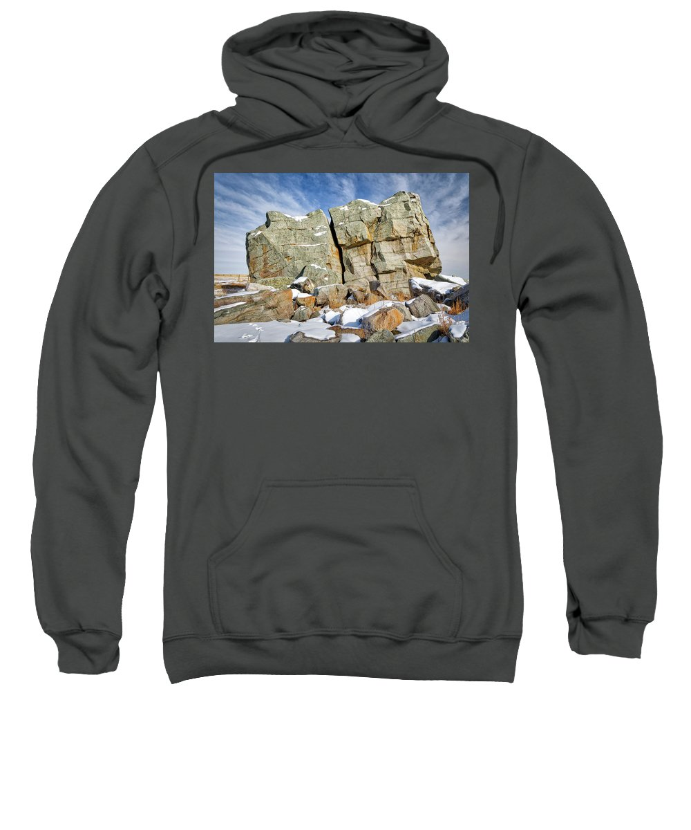 Alberta Sweatshirt featuring the photograph The Big Rock by Roderick Bley