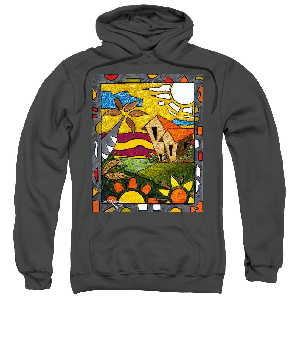 Puerto Rico Sweatshirt featuring the painting A Beautiful Day by Oscar Ortiz