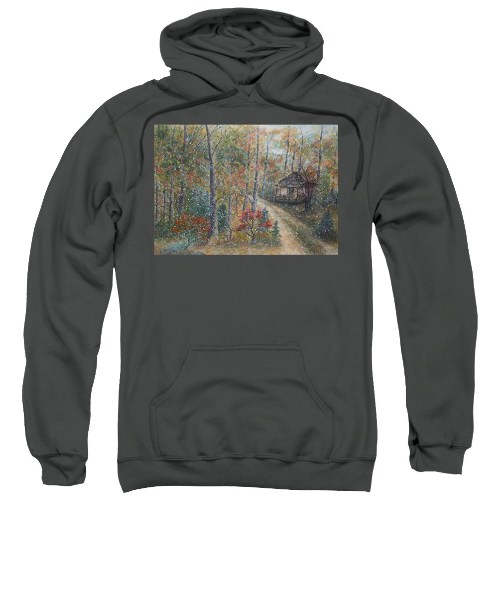 Country Road; Old House; Trees Sweatshirt featuring the painting A Bend in the Road by Ben Kiger