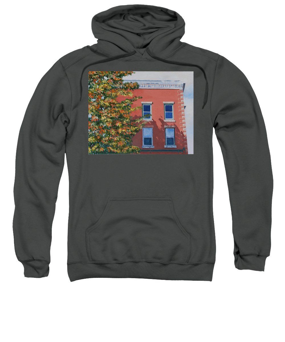 Acrylic Sweatshirt featuring the painting A Brick In Time by Lynne Reichhart
