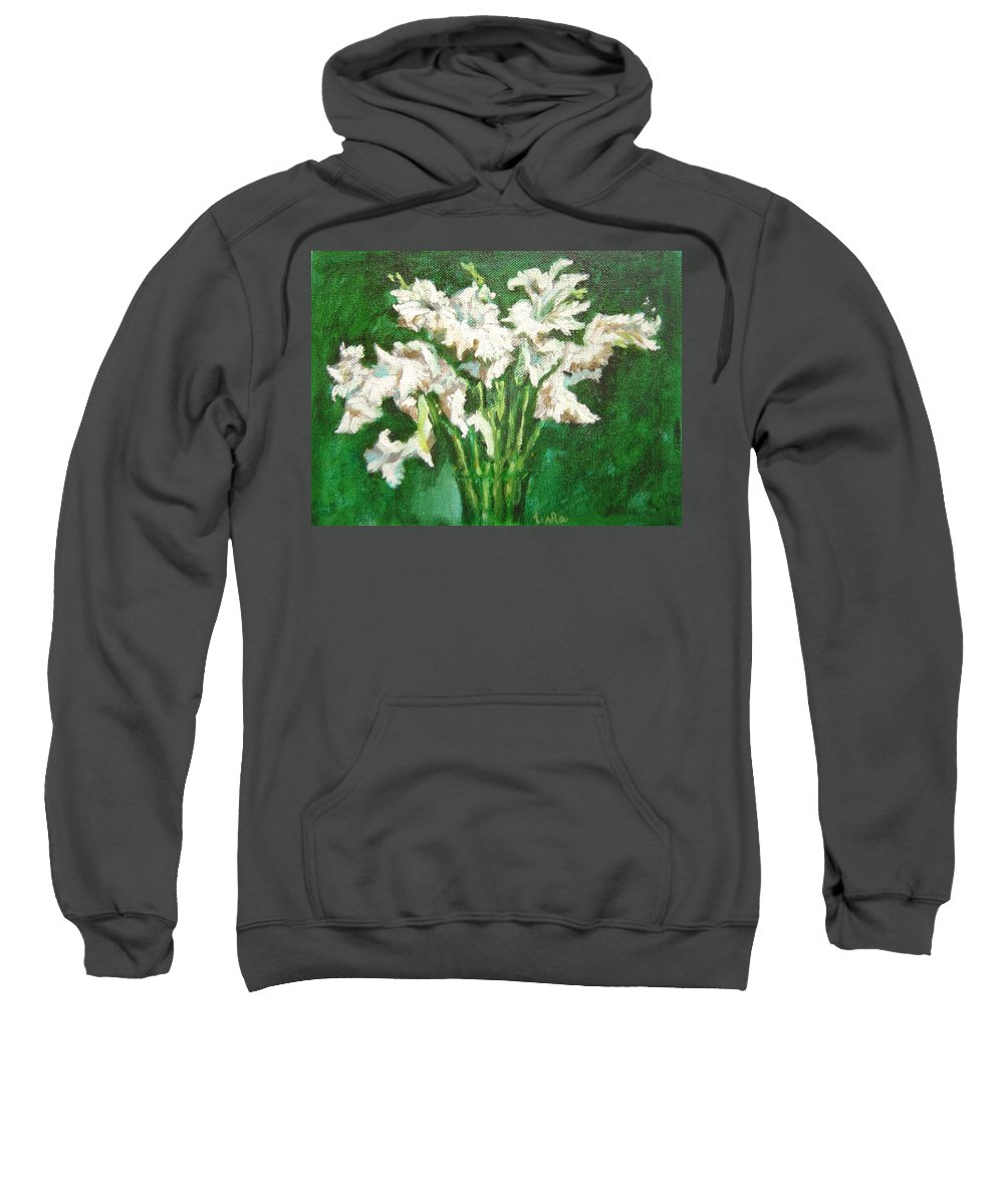 Bunch Sweatshirt featuring the painting A Bunch Of White Gladioli by Usha Shantharam