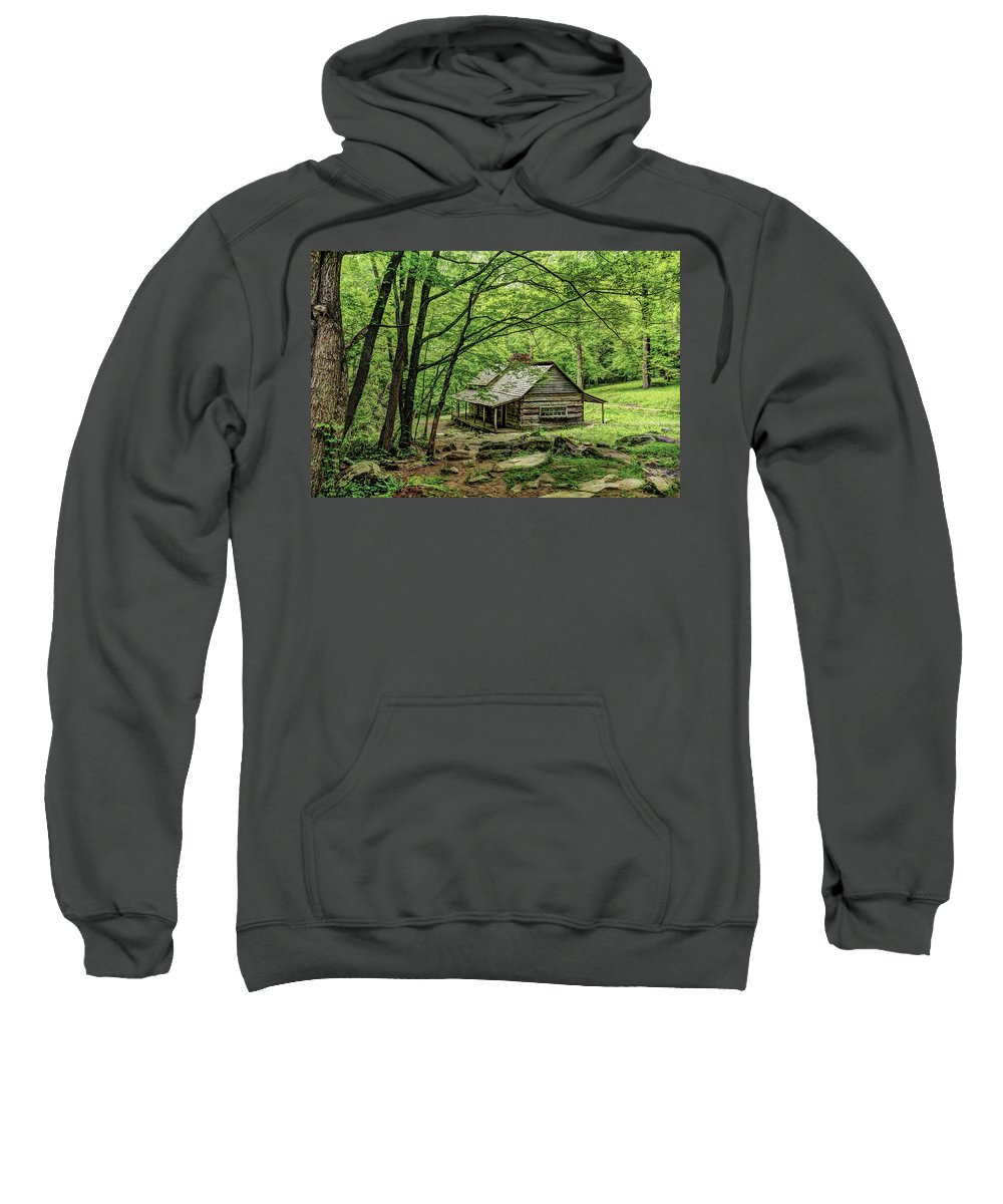 Great Smoky Mountains National Park Sweatshirt featuring the photograph A Cabin In The Woods by Kay Brewer