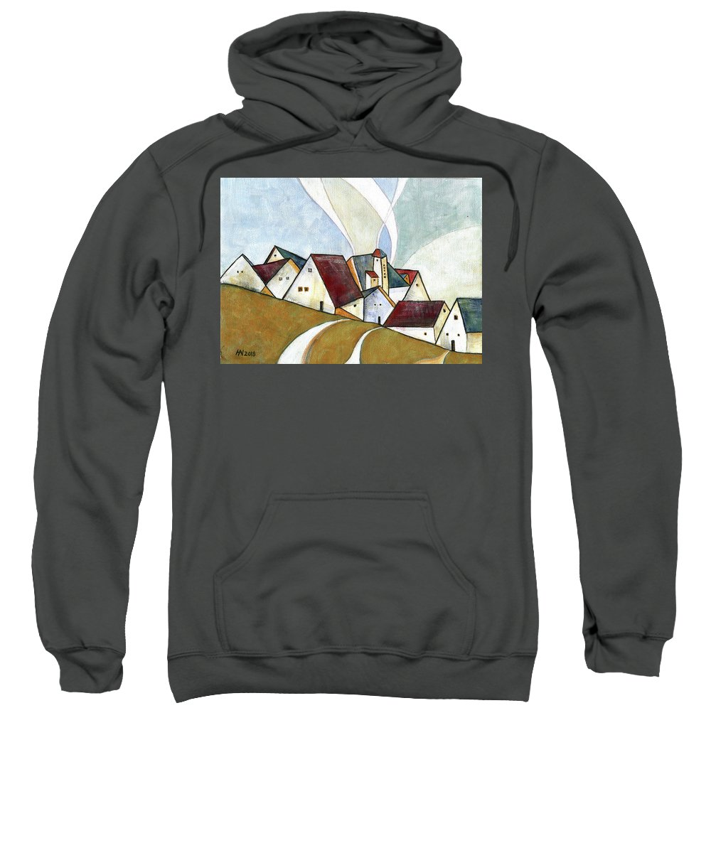 Original Art Sweatshirt featuring the painting  A Cold Day by Aniko Hencz