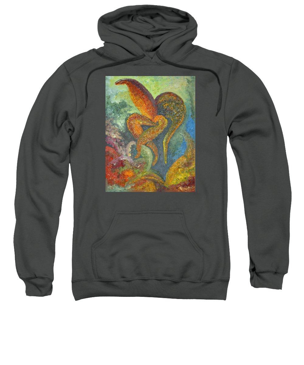 Flower Sweatshirt featuring the painting A Dancing Flower by Karina Ishkhanova