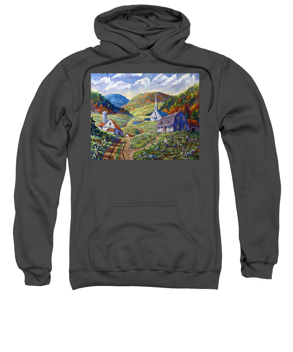 Landscape Sweatshirt featuring the painting A Day In Our Valley by Richard T Pranke