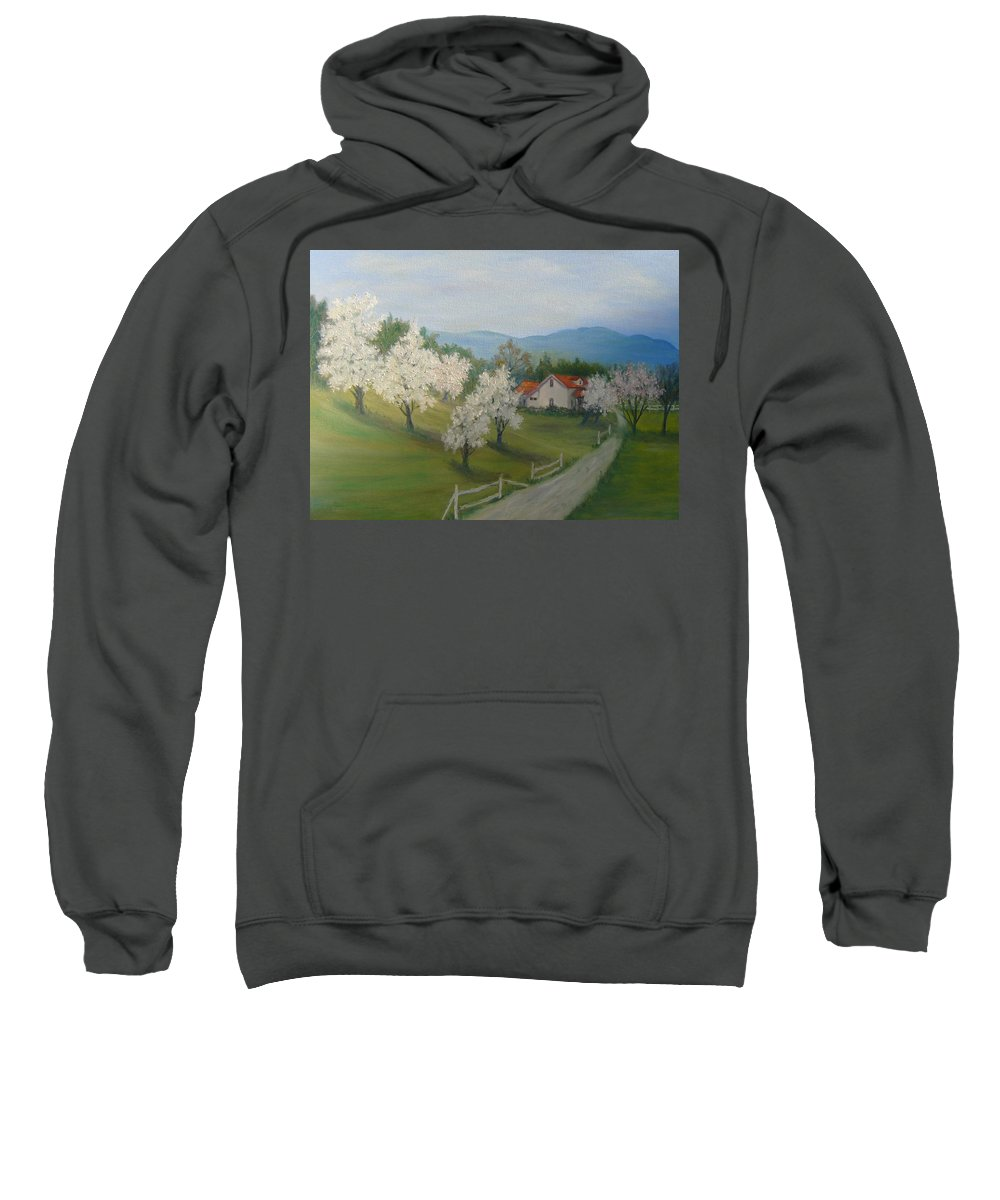 Landscape; Spring; Mountains; Country Road; House Sweatshirt featuring the painting A Day In The Country by Ben Kiger