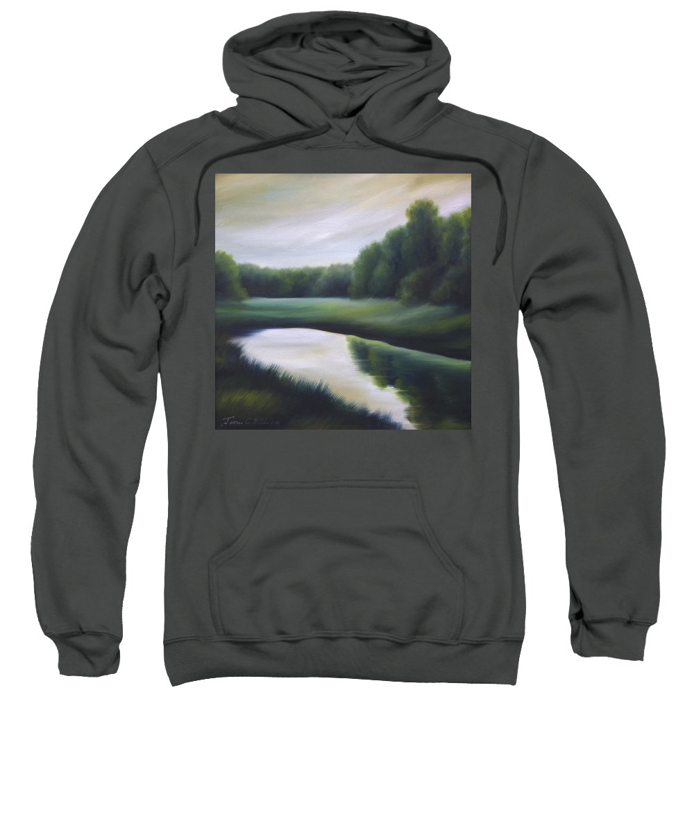 Nature; Lake; Sunset; Sunrise; Serene; Forest; Trees; Water; Ripples; Clearing; Lagoon; James Christopher Hill; Jameshillgallery.com; Foliage; Sky; Realism; Oils; Green; Tree Sweatshirt featuring the painting A Day In The Life 3 by James Christopher Hill