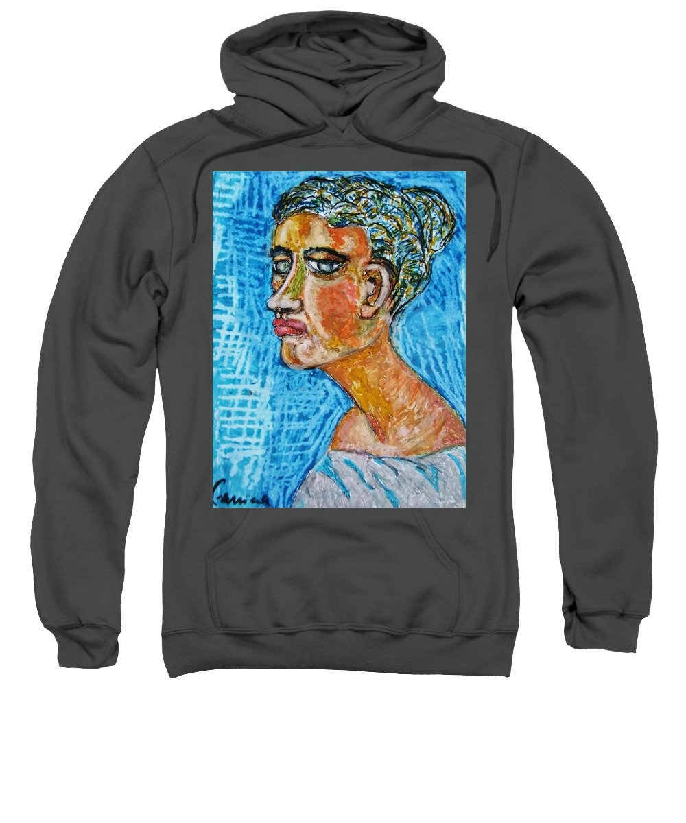 A Lady. Female Face. A Friend. Sweatshirt featuring the painting A Dear Lady Friend by Beppe Fassina