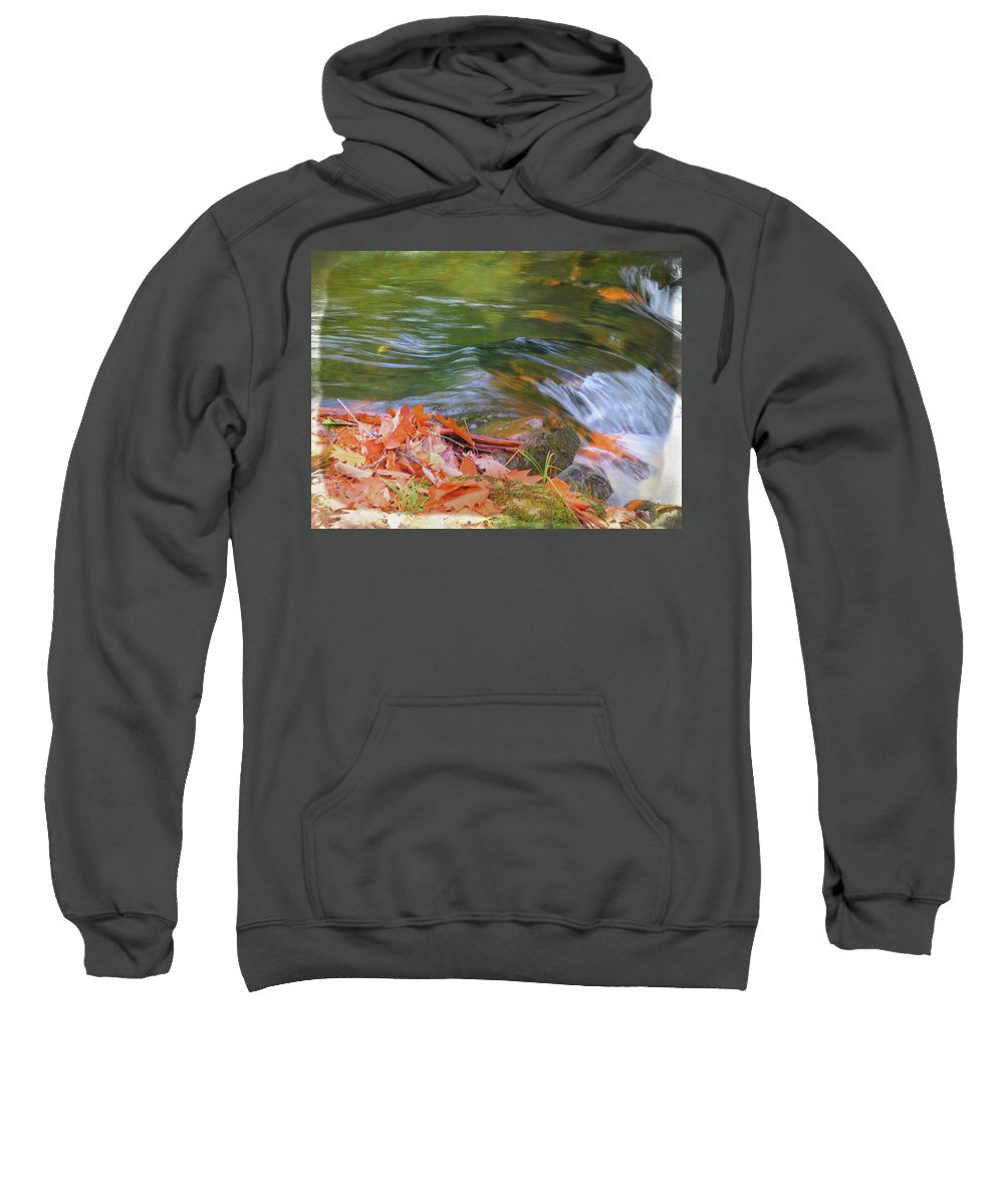 Fall Sweatshirt featuring the photograph Flowing Water Fall Leaves Closeup by Rusty R Smith