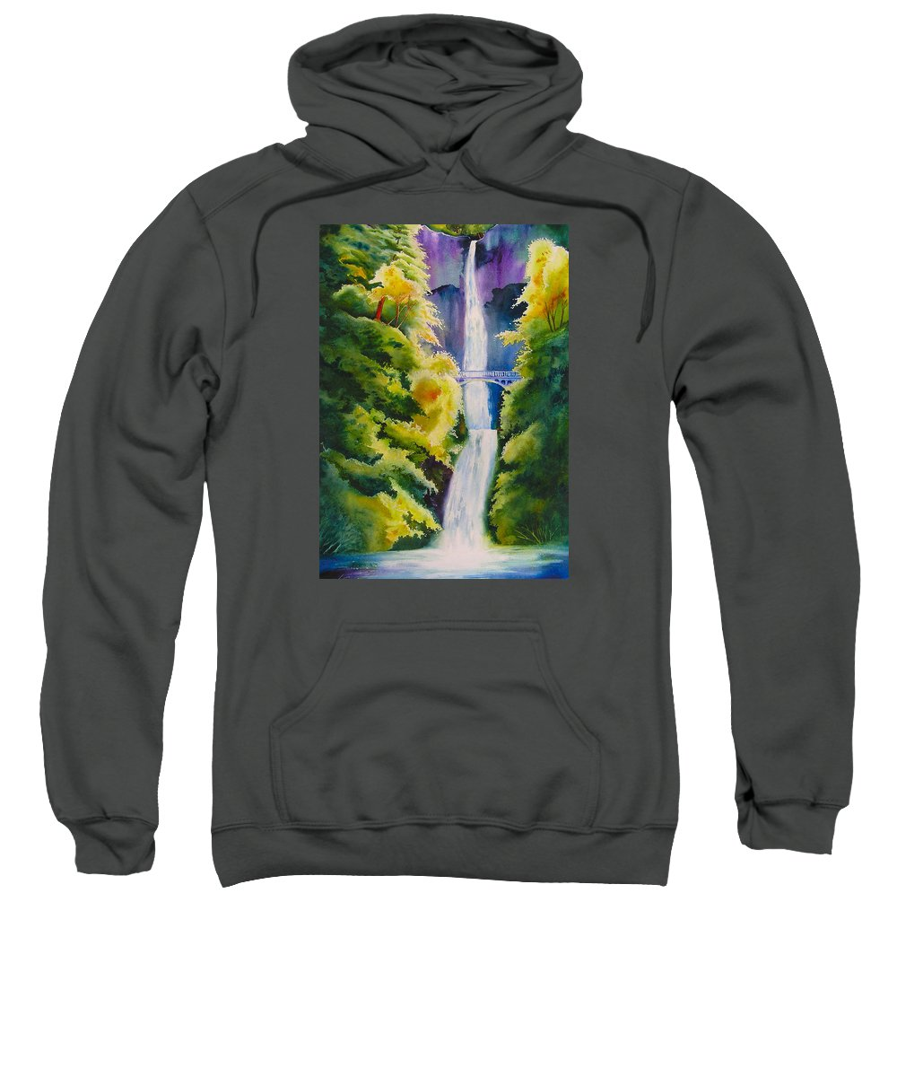 Waterfall Sweatshirt featuring the painting A Favorite Place by Karen Stark