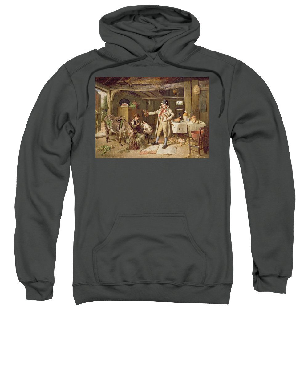 Vanity; Mirror; Walking Stick; Button Hole; Pigs; Pony; Interior; Cottage; Dog; Boy; Bacon; Ham; Pok; Turnip; Hay; Clock; Rustic; Pipe; Indoor; Donkey Sweatshirt featuring the painting A Fine Attire by Charles Hunt