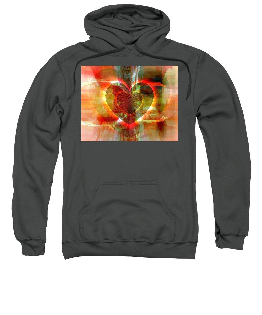 Fania Simon Sweatshirt featuring the digital art A Forgiving Heart by Fania Simon