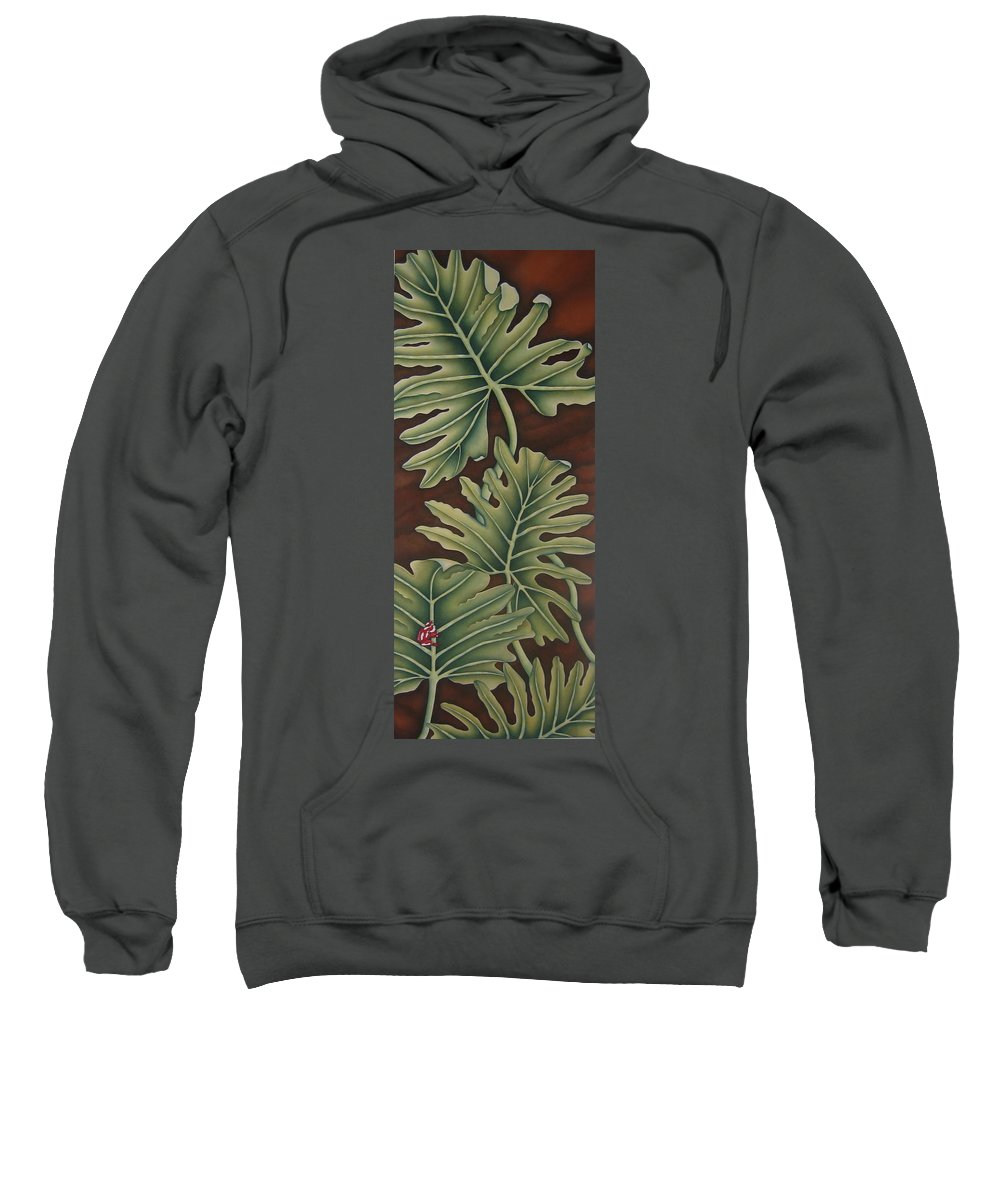 Frog Sweatshirt featuring the painting A Frog On A Philodendron by Jeniffer Stapher-Thomas