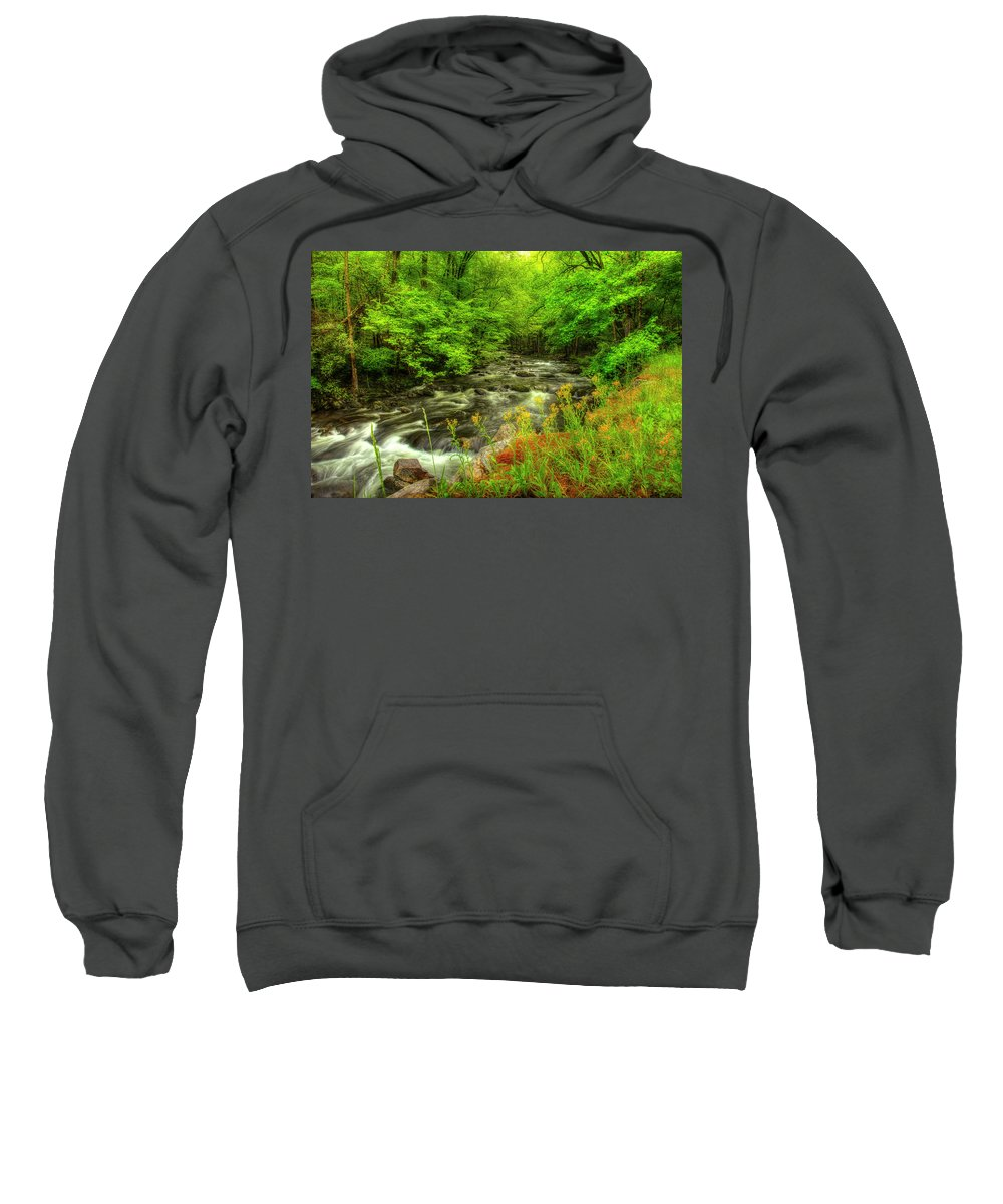 Tennessee Stream Sweatshirt featuring the photograph A Good Morning To Hike by Mike Eingle