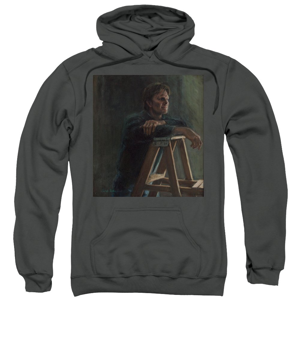 Portrait Sweatshirt featuring the painting A. Hervold by Sarah Yuster