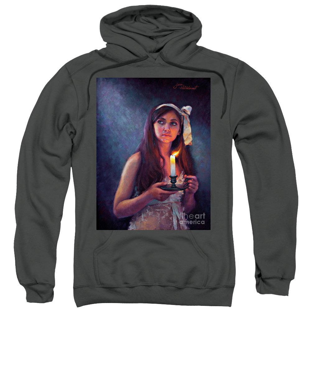 Pastel Sweatshirt featuring the painting A Light Unto My Path by Jean Hildebrant