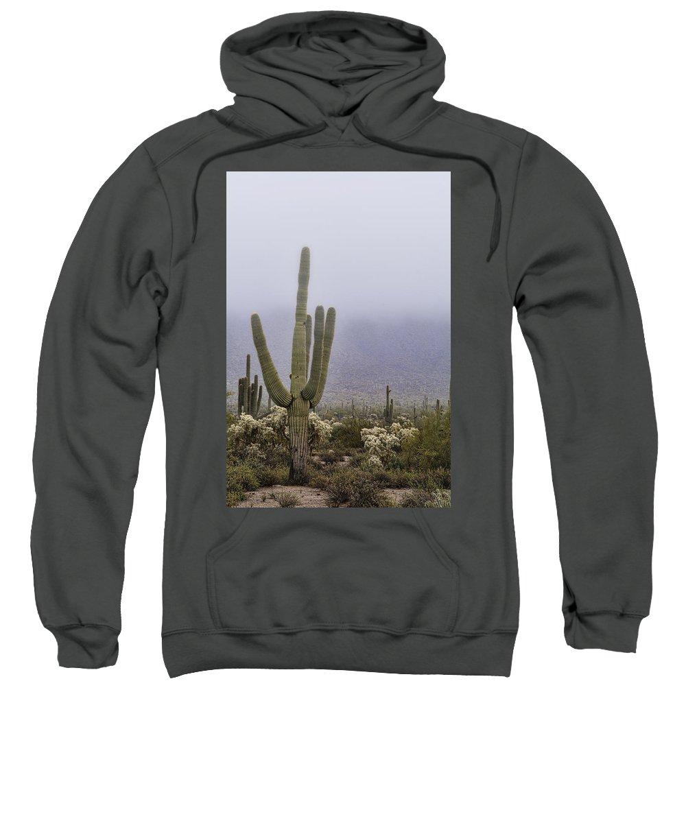 Arizona Sweatshirt featuring the photograph A Little Desert Fog by Saija Lehtonen
