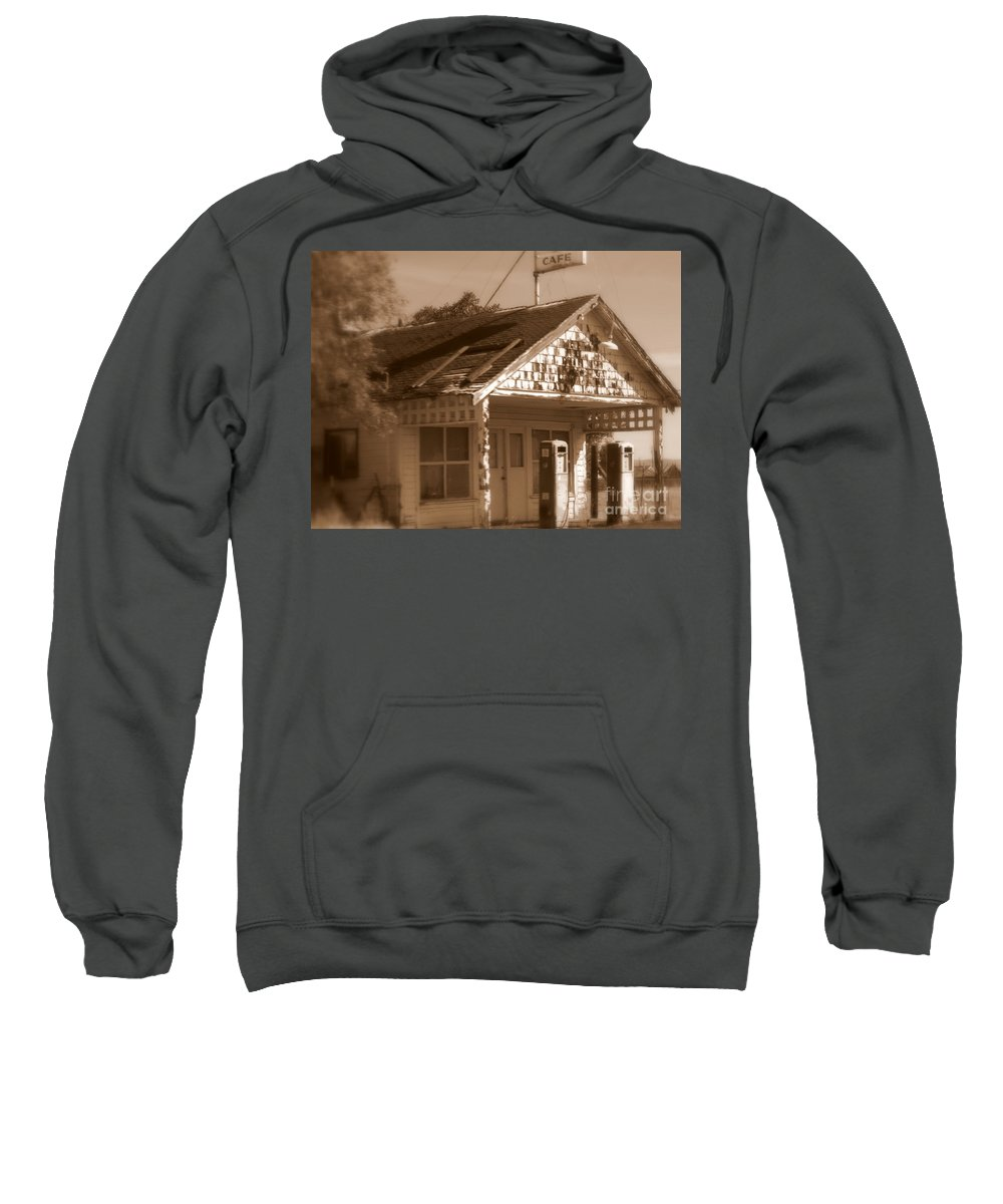 Old Building Sweatshirt featuring the photograph A Little Weathered Gas Station by Carol Groenen
