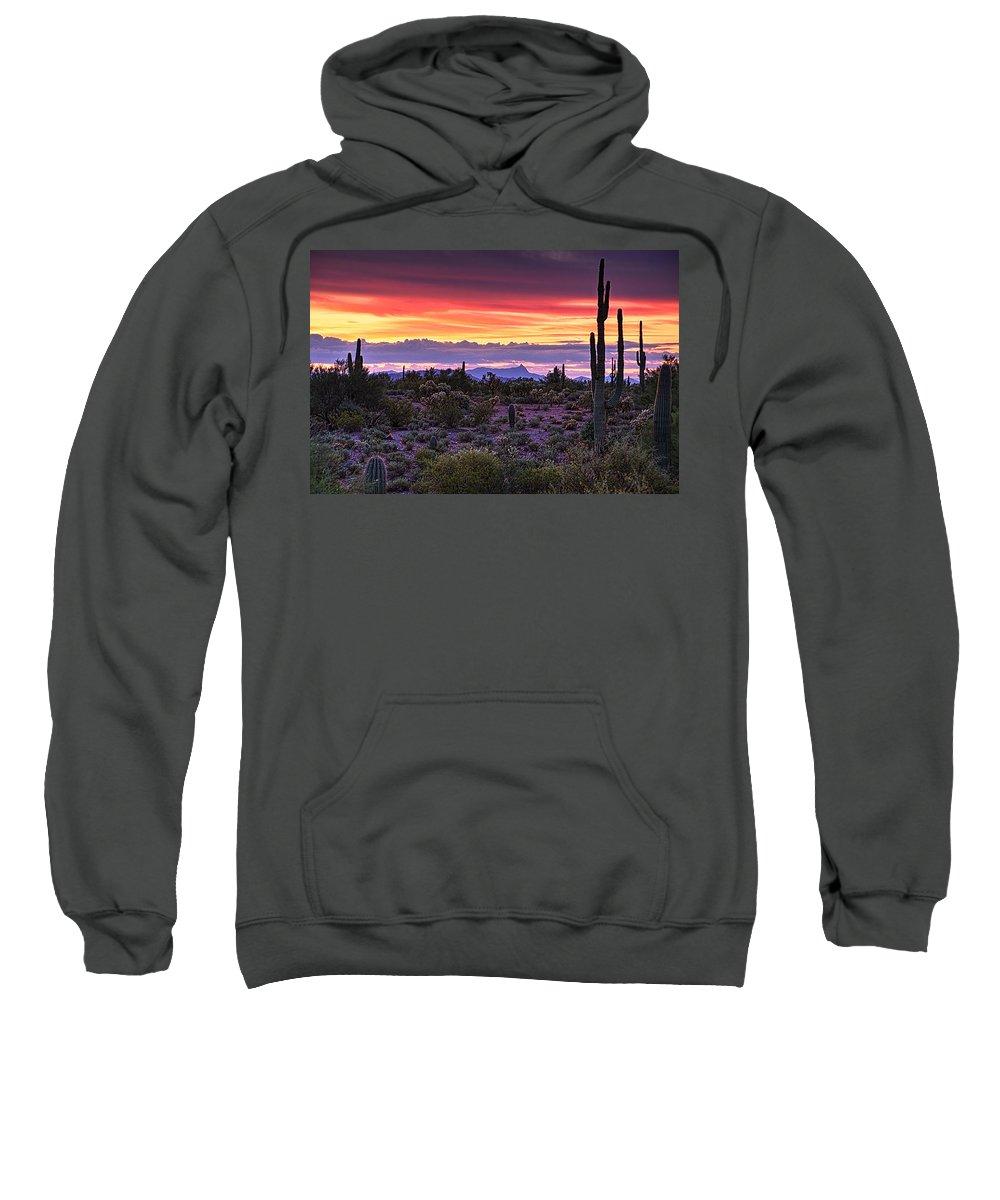 Saguaro Sunrise Sweatshirt featuring the photograph A Magical Desert Morning by Saija Lehtonen
