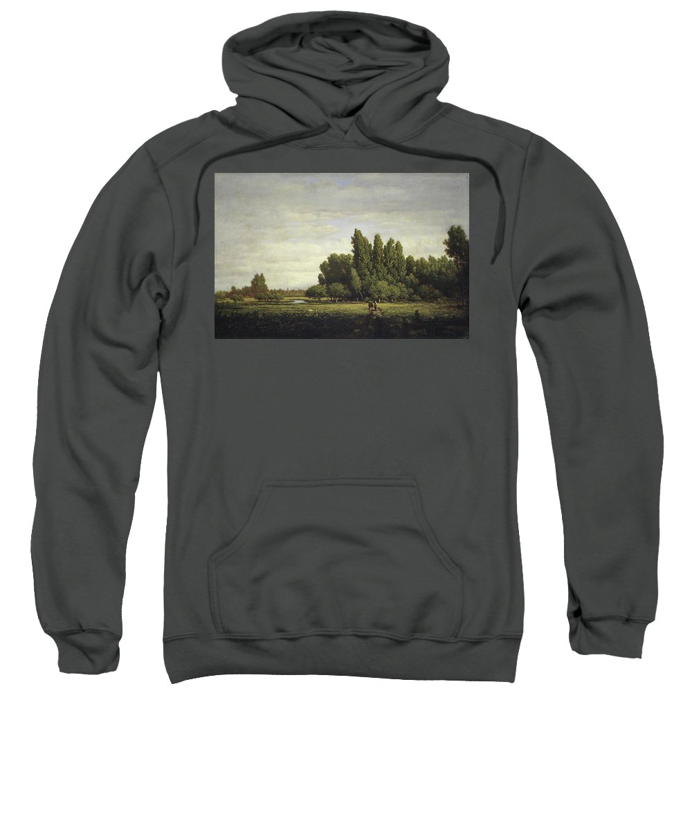 Barbizon School Sweatshirt featuring the painting A Meadow Bordered By Trees by Theodore Rousseau