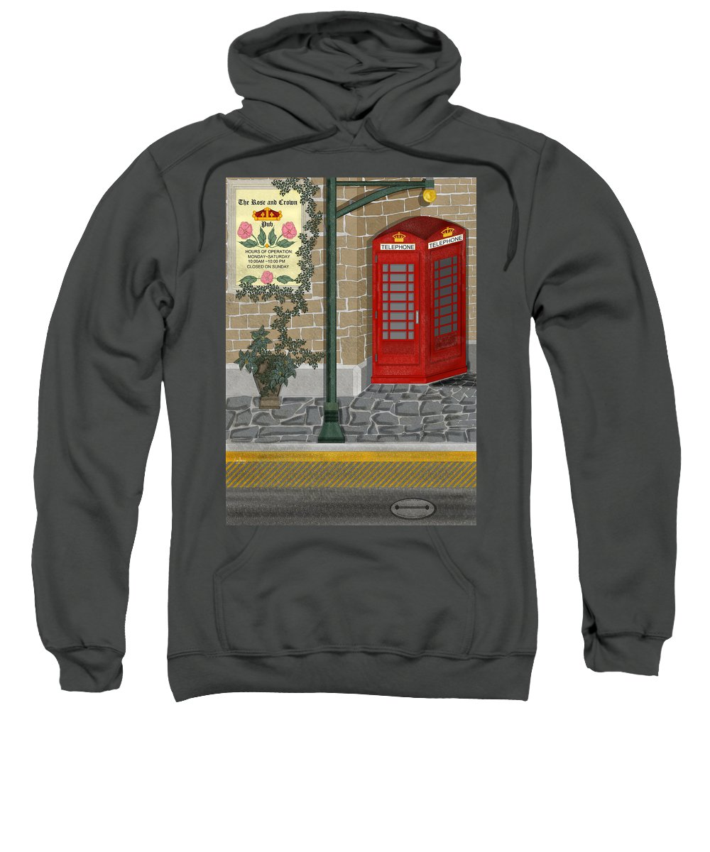 Cityscape Sweatshirt featuring the painting A Merry Old Corner In London by Anne Norskog