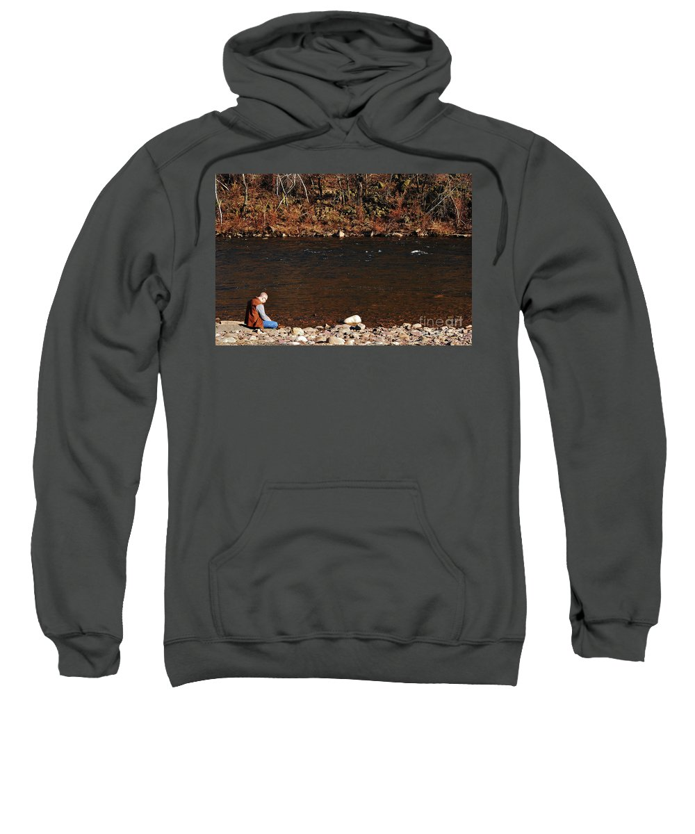 Person Sweatshirt featuring the photograph A Moment By The Water by Lori Tambakis