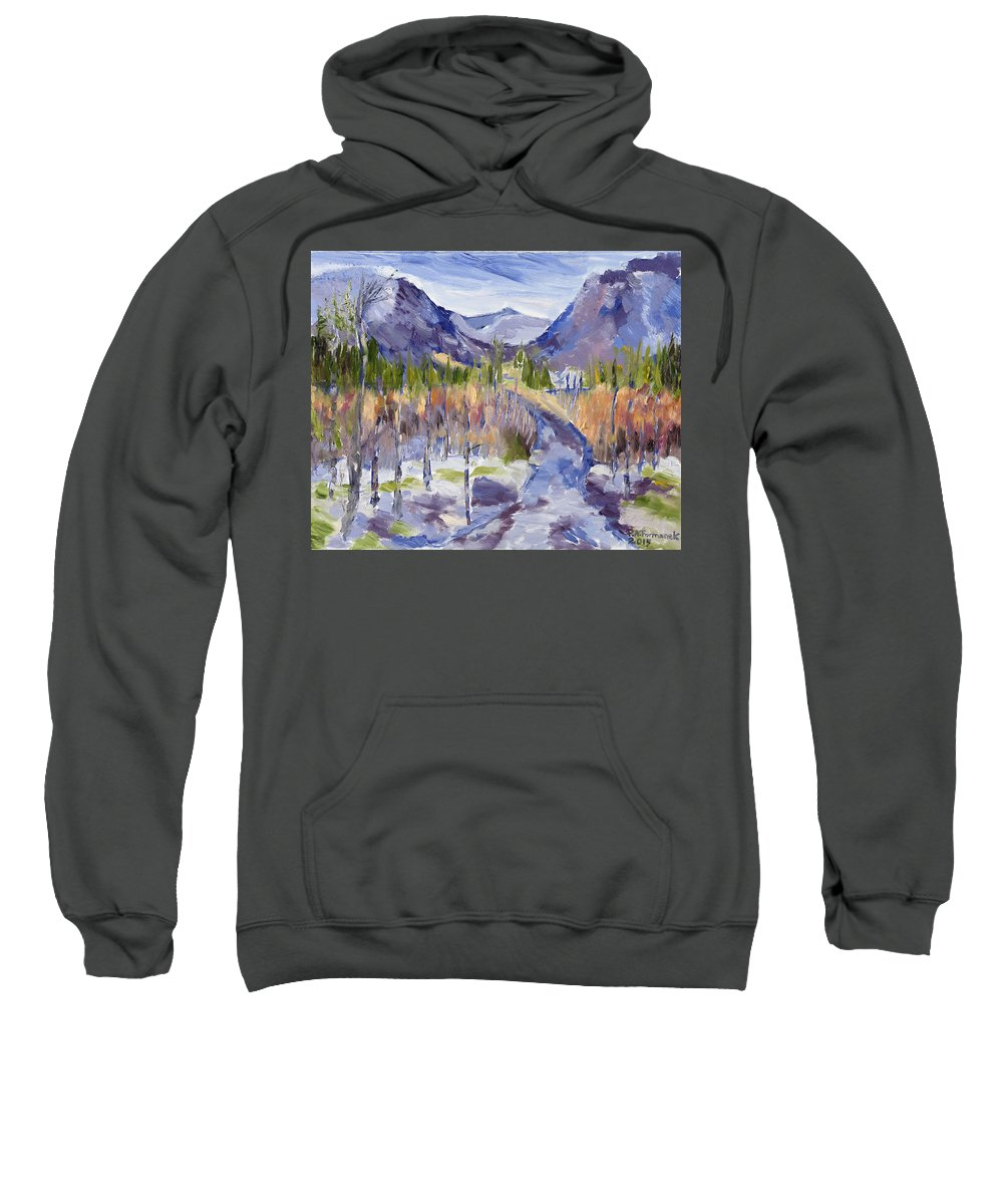 Rocky Mountains Sweatshirt featuring the painting A Mountain Road by Paula Formanek