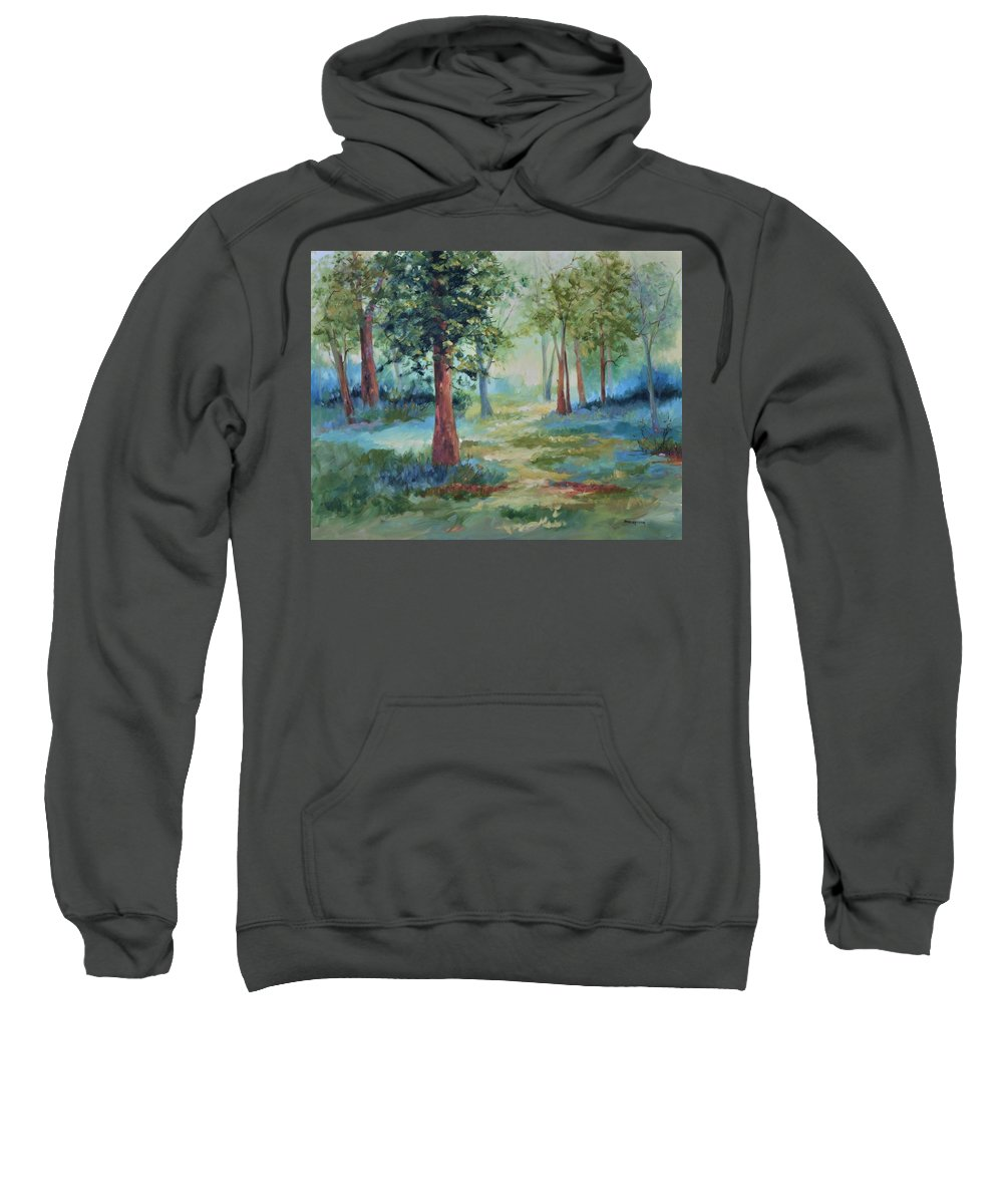 Trees Sweatshirt featuring the painting A Path Not Taken by Ginger Concepcion
