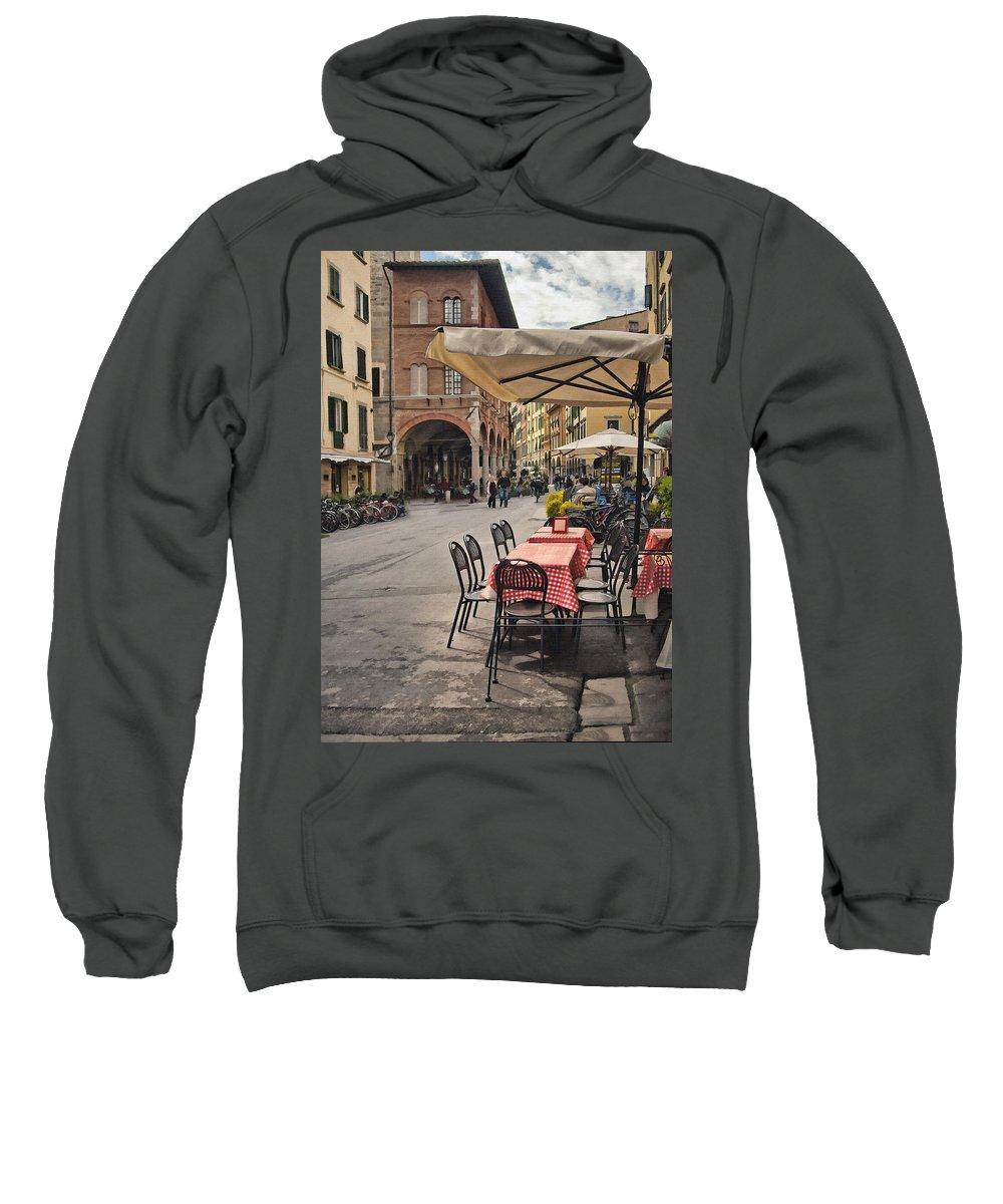Pisa Sweatshirt featuring the digital art A Pisa Cafe by Sharon Foster