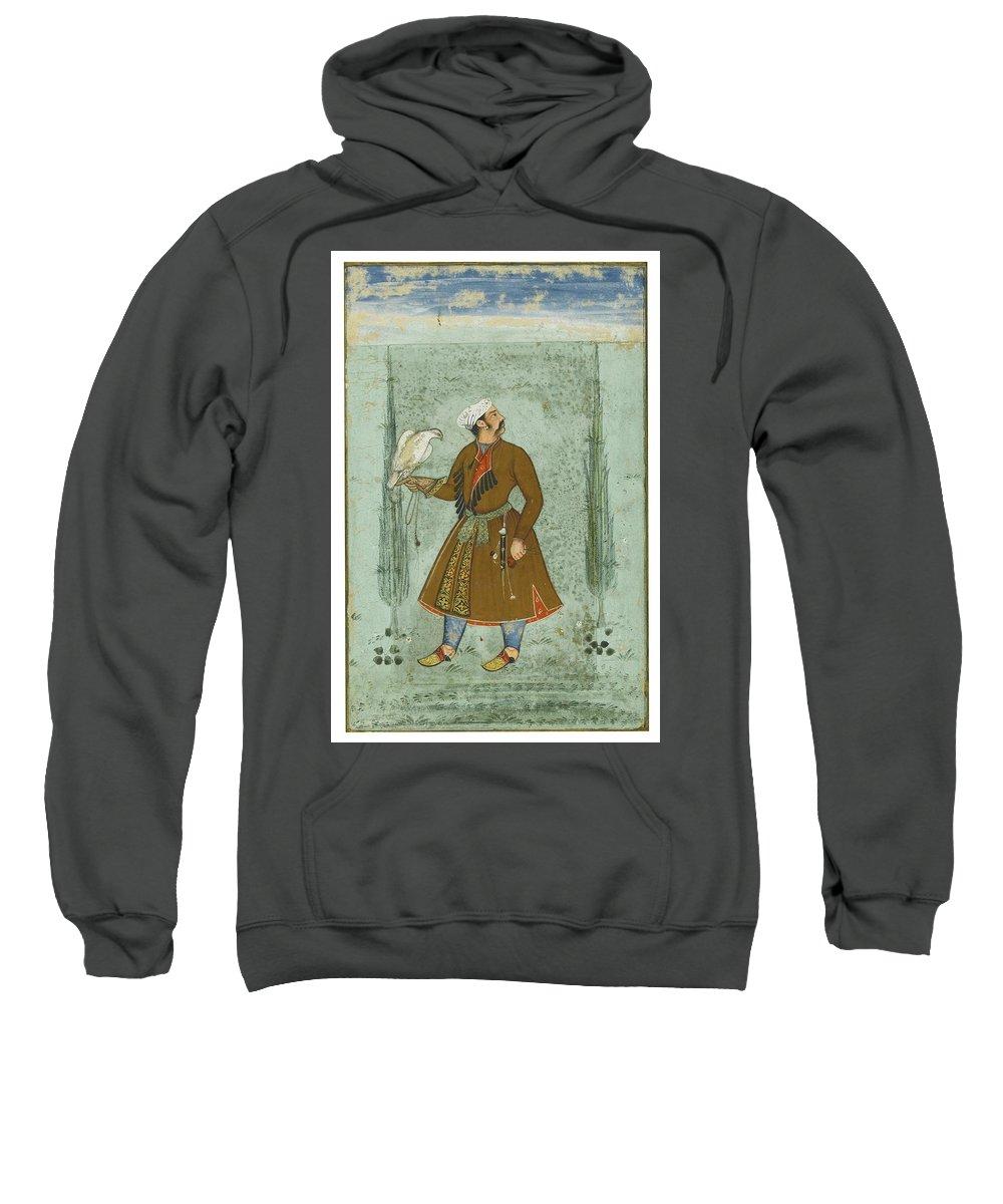 A Portrait Of A Nobleman Holding A Falcon Sweatshirt featuring the painting A Portrait Of A Nobleman Holding A Falcon by MotionAge Designs