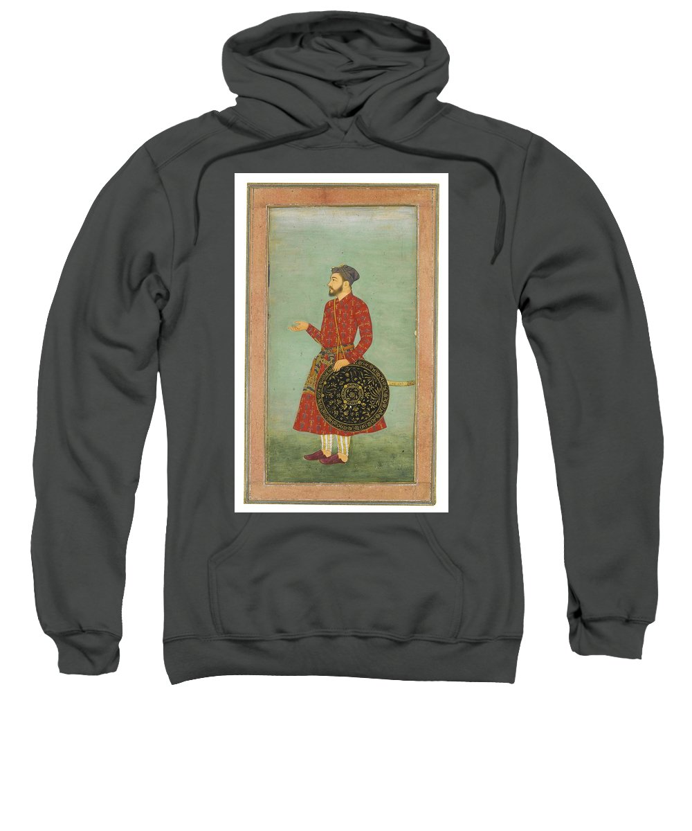 A Portrait Of Khan Zaman With Shield And Sword Sweatshirt featuring the painting A Portrait Of Khan Zaman by MotionAge Designs