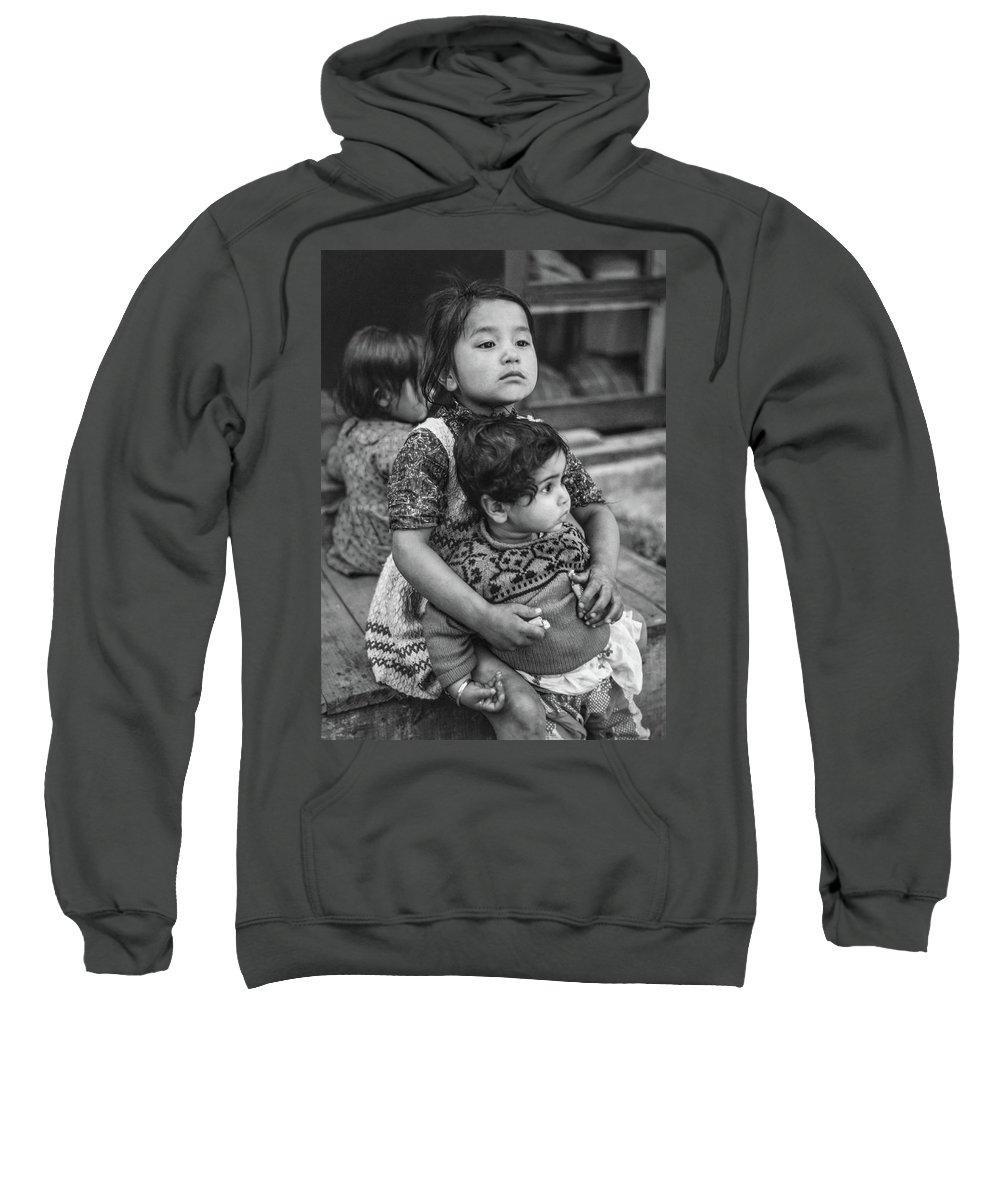 Kids Sweatshirt featuring the photograph A Proud Sister Bw by Steve Harrington