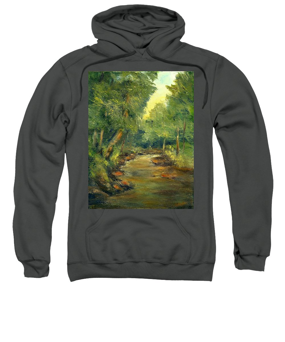Creek Sweatshirt featuring the painting A Quiet Place by Gail Kirtz