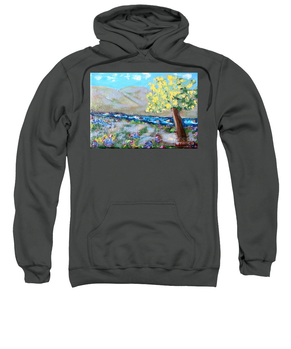 Landscapes Sweatshirt featuring the painting A Quiet Place by Laurie Morgan