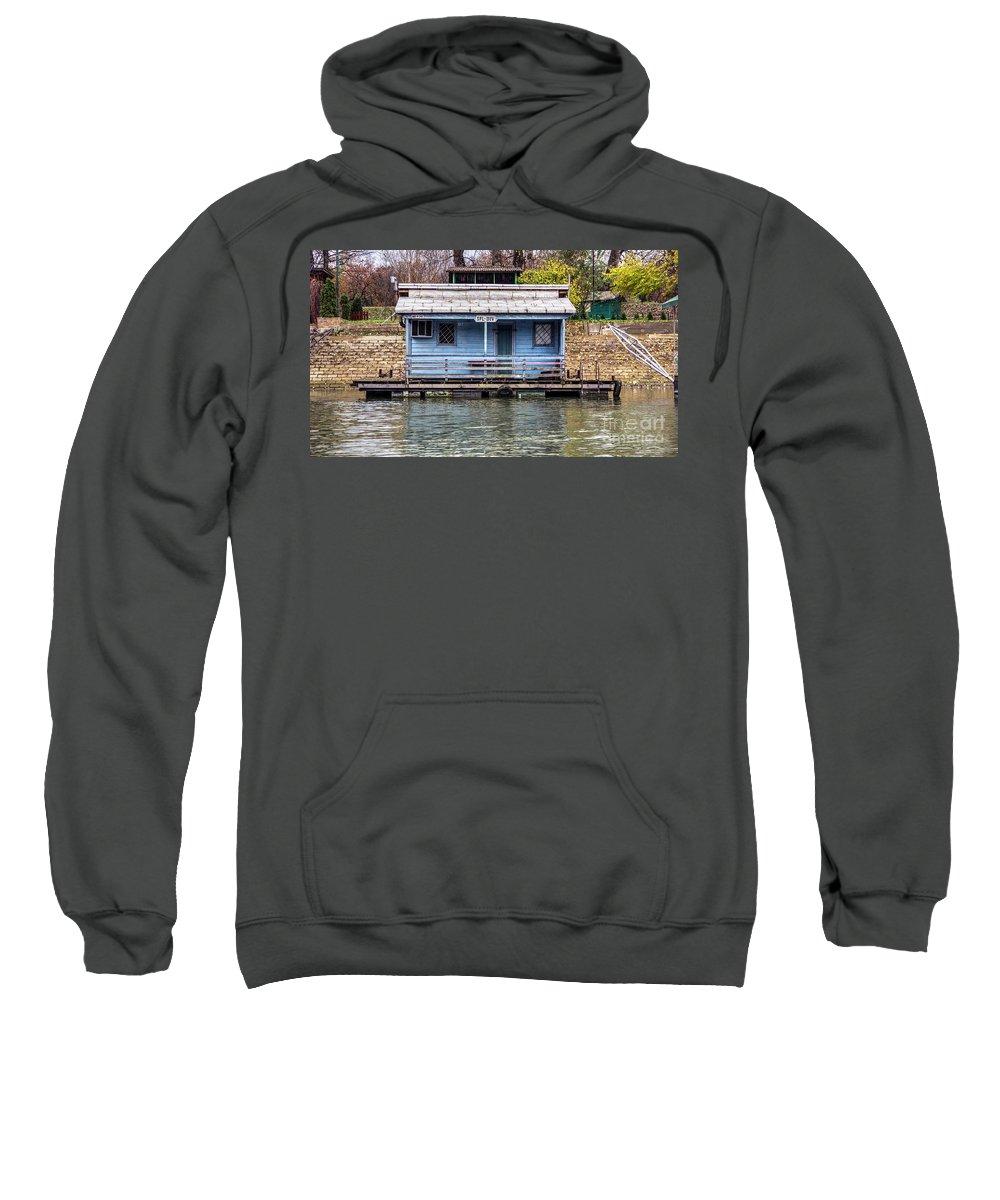 Raft Sweatshirt featuring the photograph A Raft House Moored To The Shoreline Of Ada Ciganlija Islet by Bratislav Stefanovic