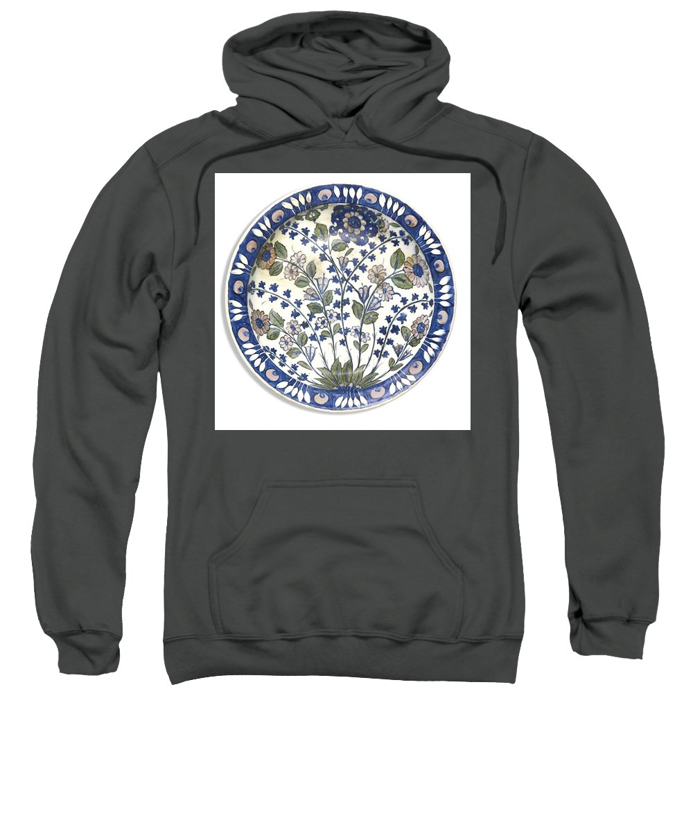 A Rare Iznik 'damascus' Style Pottery Dish Sweatshirt featuring the painting A Rare Iznik Damascus by Eastern Accents
