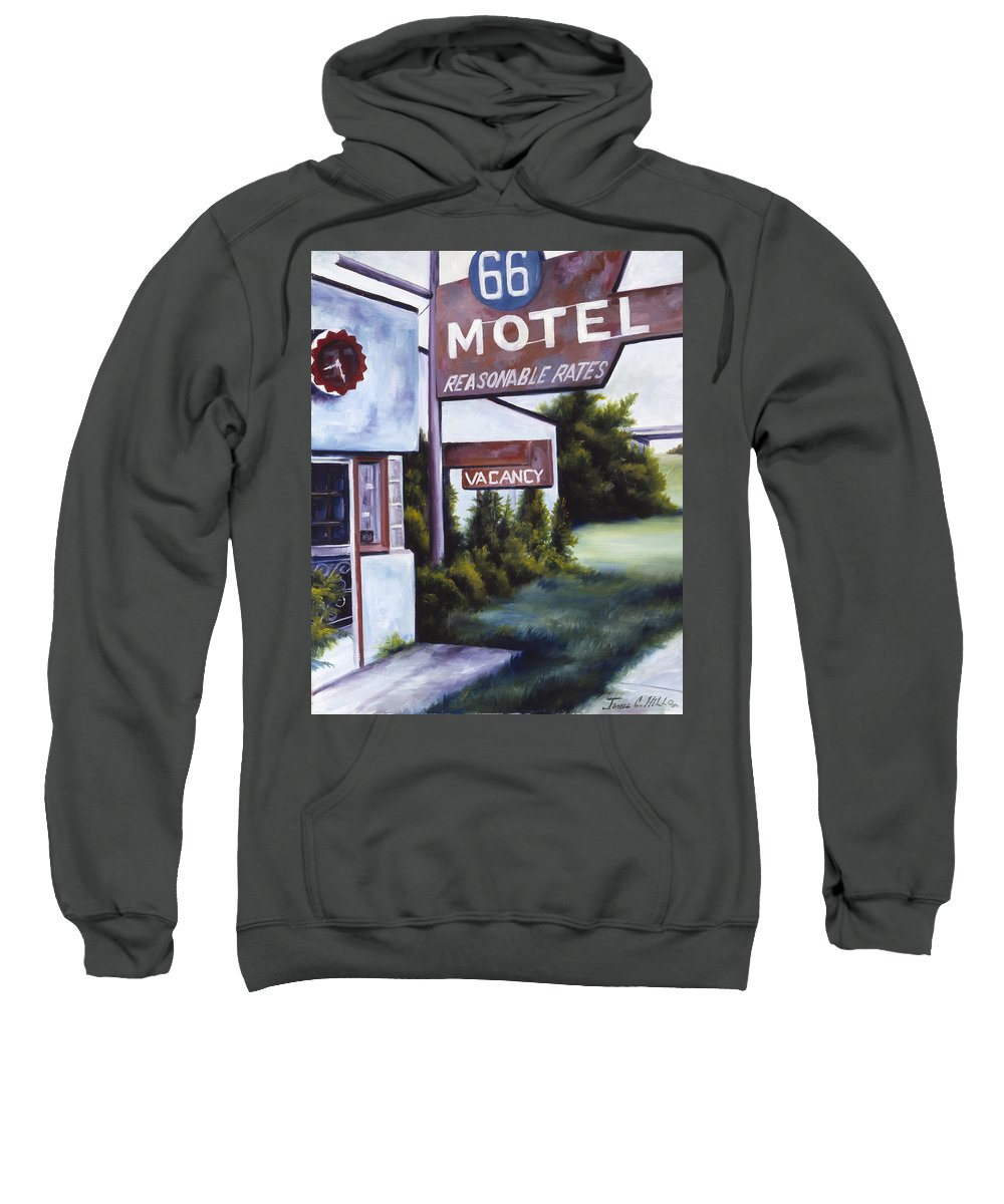Motel; Route 66; Desert; Abandoned; Delapidated; Lost; Highway; Route 66; Road; Vacancy; Run-down; Building; Old Signage; Nastalgia; Vintage; James Christopher Hill; Jameshillgallery.com; Foliage; Sky; Realism; Oils Sweatshirt featuring the painting A Road Less Traveled by James Christopher Hill