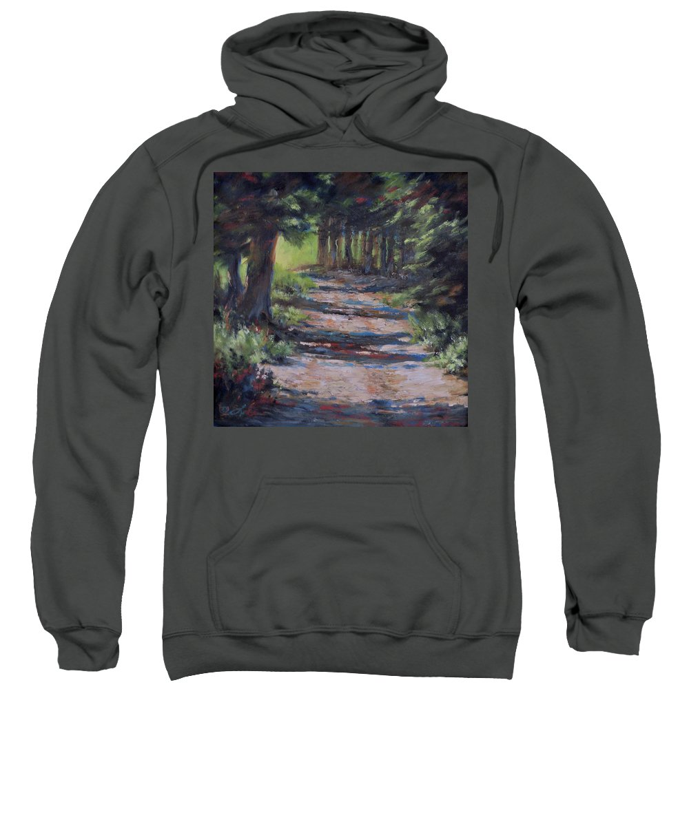 Landscape Sweatshirt featuring the painting A Road Less Travelled by Mia DeLode