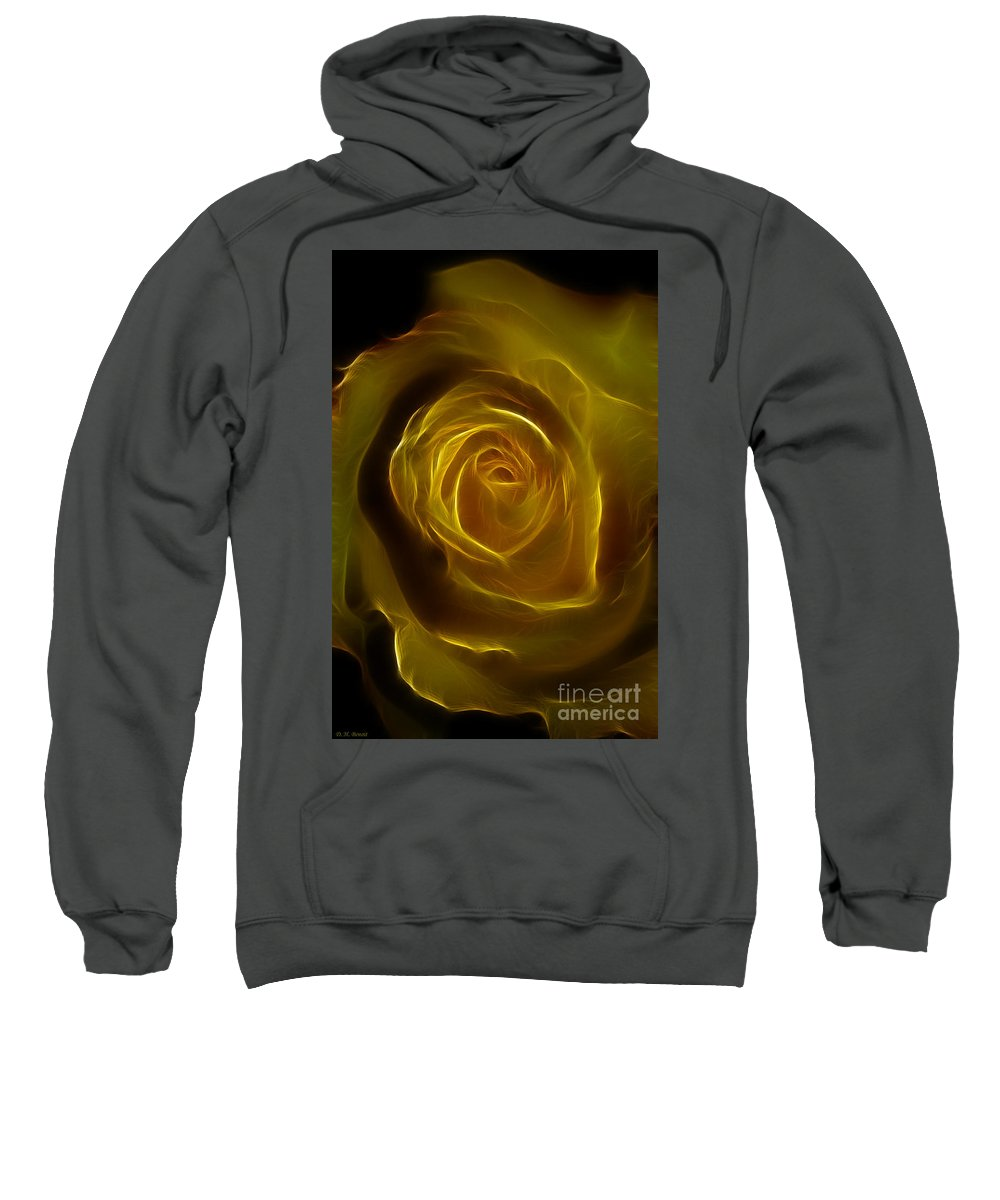 Yellow Sweatshirt featuring the photograph A Rose Of Yellow by Deborah Benoit
