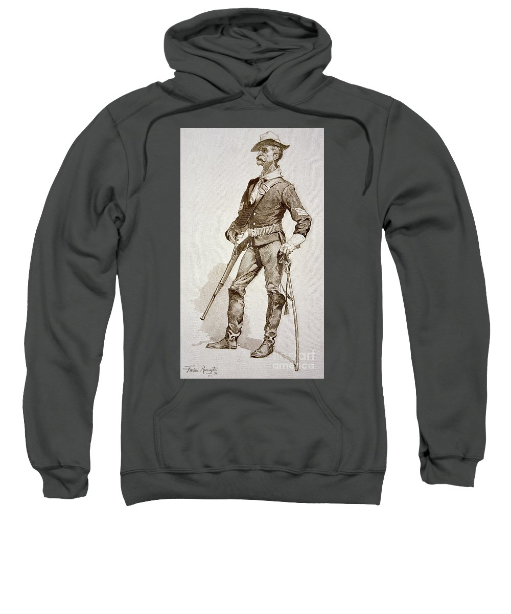 Remington Sweatshirt featuring the drawing A Sergeant Of The Us Cavalry by Frederic Remington