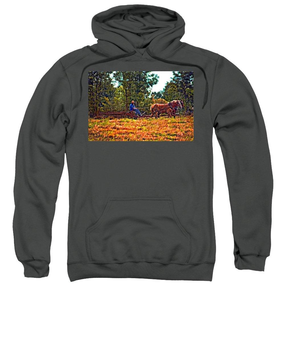 Farm Sweatshirt featuring the photograph A Simpler Time Sketch by Steve Harrington