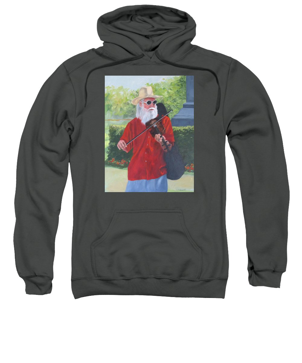 Slim Sweatshirt featuring the painting A Slim Fiddler For Peace by Connie Schaertl