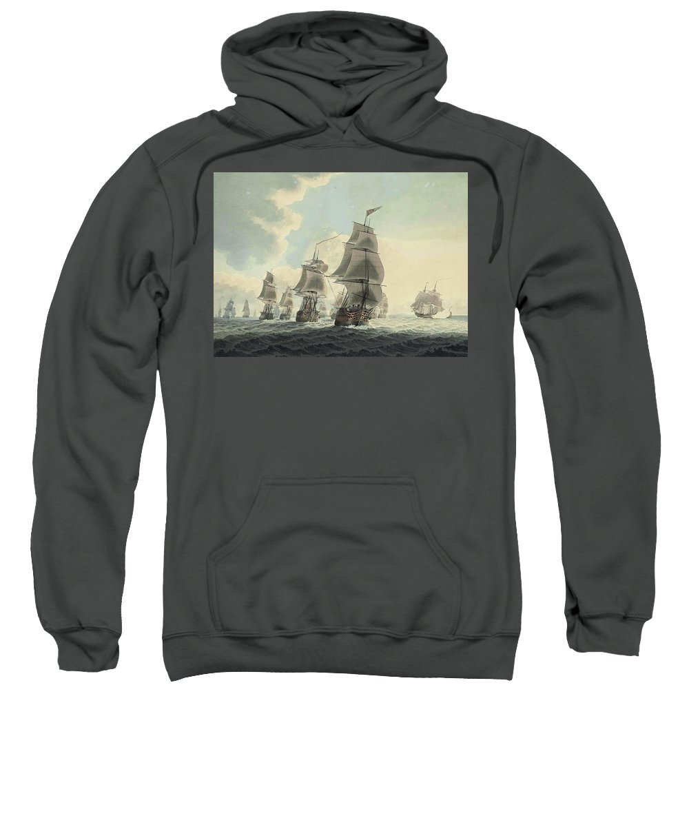 Attributed To Samuel Atkins Sweatshirt featuring the drawing A Squadron Of The Royal Navy Running Down The Channel And An East Indiaman Preparing To Sail by Attributed to Samuel Atkins